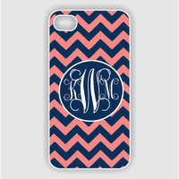 Monogram iPhone 5 Case - Navy Blue / Coral Chevron Monogram -  iPhone Case, iPhone 5 Case, Cases for iPhone 5 IPHONE 5 (iM4043)