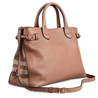 DCCKON Tote Bag Handbag Authentic Burberry Medium Banner in Leather and House Check Dark Sand Item 39589811
