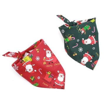 Dog Puppy Cat Bandana Christmas Collar Scarf Neckerchief Pet Triangle Scarf Bibs For Chihuahua Tie With Elk Santa Claus Printing