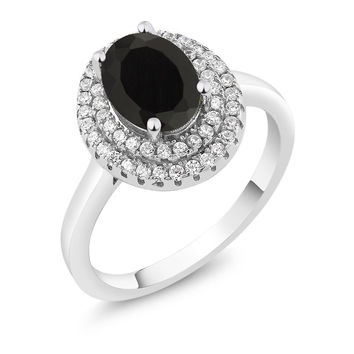 2.45 Ct Oval Black Onyx 925 Sterling Silver Ring
