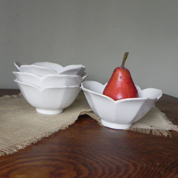 Vintage four lotus bowls - porcelain five inches diameter