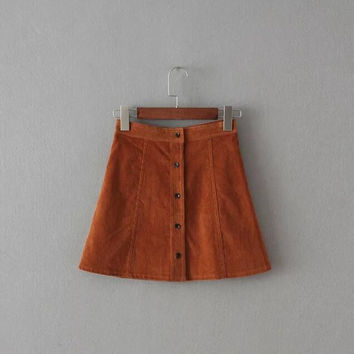 A Line Single-Breasted Plain Skirt B0013902