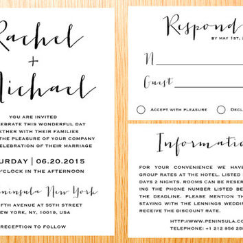 Digital Printable Wedding Invitation Suite Set Classic Simple Modern Minimalist Wedding Set Custom Made Wedding Set Invitation Kits