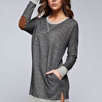 Gray Tunic w/ Suede Elbow Patches