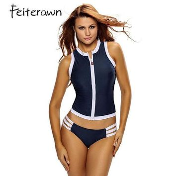 VONETDQ Feiterawn Swimwear Sexy Bikini Beach Swimsuit Women 2017 Block Party Rash Vest Multi-strap Hipster One Piece Tankini Set DL41397