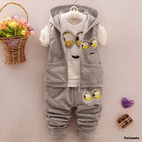 Baby  clothes Tracksuit kids born suit boys and girls hoodie coat+T-shirt+trousers