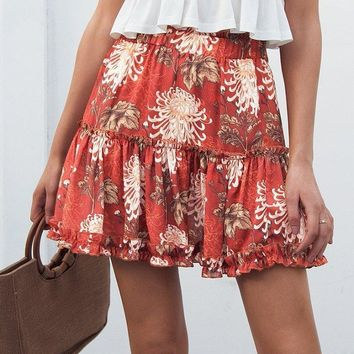 Botanical Print Mini Loose Skirt