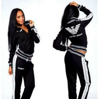 """Armani"" Fashion Casual Eagle Letter Pattern Print Long Sleeve Coat Set Two-Piece Sportswear"