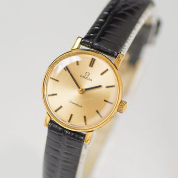 Woman watch Omega Geneve, gold plated AU 20 ladies watch Swiss made, mechanical woman wristwatch gift anniversary, premium leather strap new