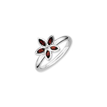 Sterling Silver Stackable Marquise Garnet Flower Ring