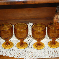 Vintage - 1970s Tiara Crystal - Amber Wine Glassses - Sandwich Amber Pattern - Set of Four - indiana