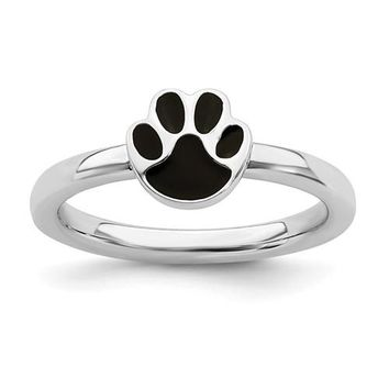 Sterling Silver Stackable Expressions Black Enameled Paw Print Ring
