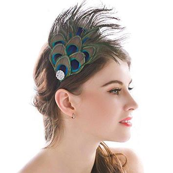 Nero Womens Handmade Peacock Feather Fascinator Headpiece Fascinator Headband for Fancy Party by AukmlamultiFree Size