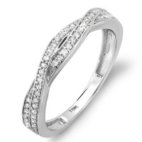 0.25 Carat (ctw) 10K White Gold Round Diamond Wedding Band Swirl Matching Ring 1/4 CT (Size 7)