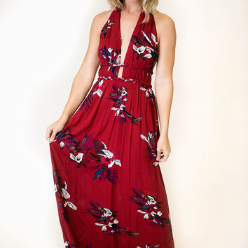 Low Neck Burgundy Floral Maxi Dress