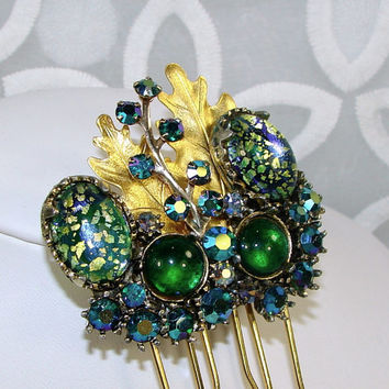 Aurora Borealis Rhinestone Jewelry Jeweled Headpiece Wedding Hairpiece Vintage Art Glass Hair Comb Blue Green Gold Pageant Ballroom Formal