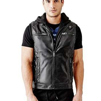 Quilted Faux-Leather Vest with Removable Hood | GUESS.com