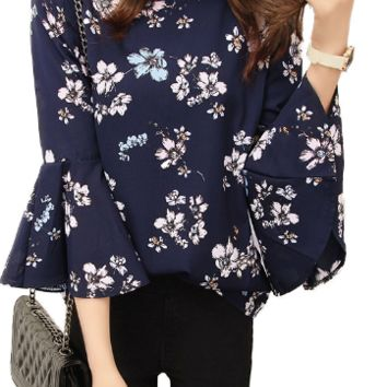 Floral Flared-Sleeves Chiffon Blouse