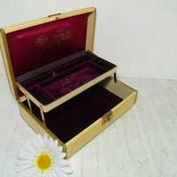 Vintage Farrington Wood & Metal Musical Jewelry Box with Working Key - Two Level Purple Velvet and Satin Lined Interior with Brass Music Box