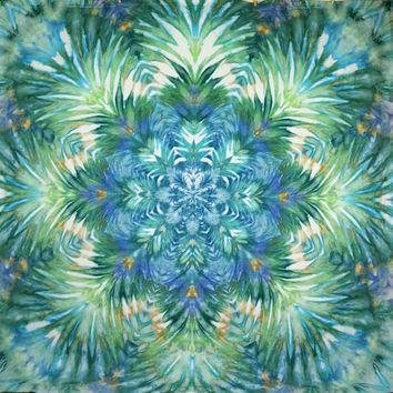 Giant tie dye tapestry mandala wall hanging turquoise blue green