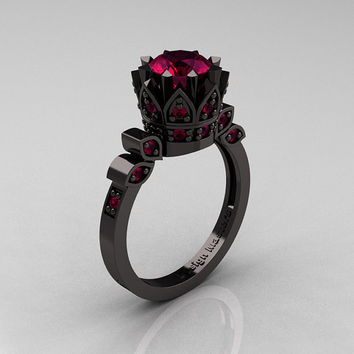 Exclusive Classic Armenian 14K Black Gold 1.0 Raspberry Red Garnet Bridal Solitaire Ring R405-14KBGRRG