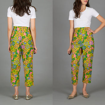 Vintage 60s Small High Waisted Floral Capri Pants