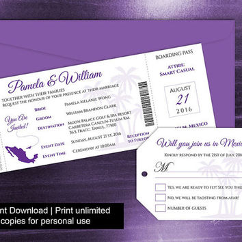 DIY Printable Wedding Boarding Pass Luggage Tag Template | Invitation | Editble MS Word file | Instant Download | Mexico Purple