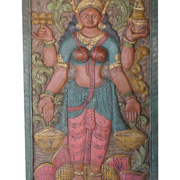 Wall Hanging Vintage Door Panel Carved Lakshmi Hindu Goddess of Wealth, Fortune and prosperity, YOGA , Puja Room, Zen Decor CLEARANCE SALE
