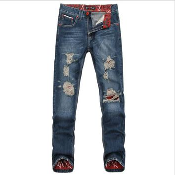 Western vintage style Men Fashion wear Hole Straight Jean Pants Mid Waist Cotton Stretch Trousers Leisure men's Skinny Jeans