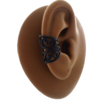 Black Filigree Ear Cuff - Powder Coated