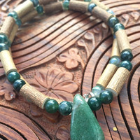 FOREST Hazelwood and Moss Agate Necklace Earthy Energy