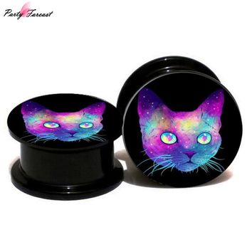 Partyfareast Color Acrylic Civet Cat Ear Expansion Ear Plugs Flared Women Ear Plugs And Tunnels Body Piercing Jewelry 2018 New
