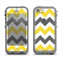The Gray & Yellow Chevron Pattern Apple iPhone 5c LifeProof Fre Case Skin Set