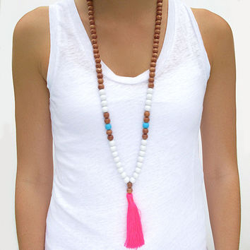 Boho Tassel Necklace - White, Aqua with Neon Pink Tassel