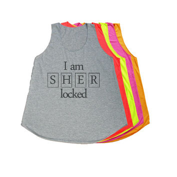 I AM SHERLOCKED Shirt Tank Top T-Shirts Women T Shirt Size S M