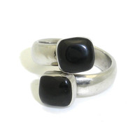 Inlaid Onyx and Silver Ring