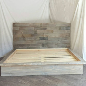 "Steph grey driftwood finished platform bed with horizontal staggered patched recycled reclaimed wood 50"" headboard"