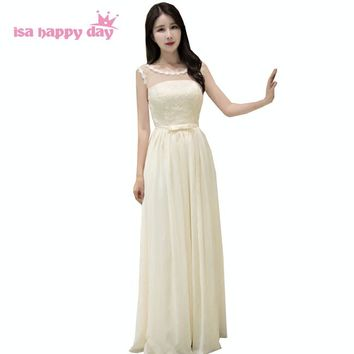 champagne illusion neckline lace up back teenage chiffon elegant bridesmaid long formal brides maids dresses under 50 B3829