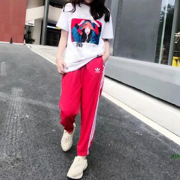 """Adidas"" Women Casual Retro Fashion Character Print Pattern Short Sleeve T-shirt Stripe Trousers Set Two-Piece Sportswear"