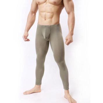 Sleep Bottoms Sexy Men U Pouch Transparent Capris Sexy Ice Silk Pants Low Waist Five Pants Sexy Tight Pocket Pajama Breathable Trousers Fx1013