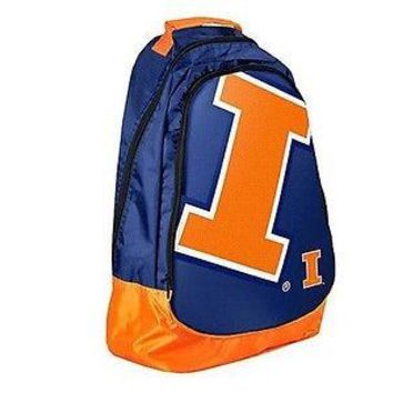 NCAA Illinois Fighting Illini Backpack Bag School Laptop Computer Tote Case