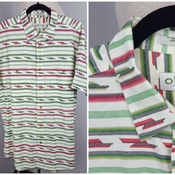 Vintage Orvis Short Sleeve Button Down Geometric Stripe Pattern White Green Red Collared Shirt Double Pockets Boho Oxford Poplin Men's Shirt