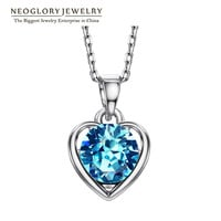 Neoglory 2 Colors Auden Rhinestone Heart Love Necklaces & Pendants For Women New 2014 Romantic Jewelry Accessories  HE1