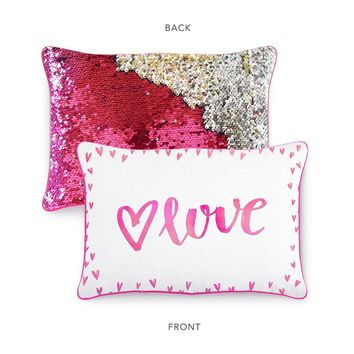 LOVE Pillow w/ Reversible Pink & Silver Sequins