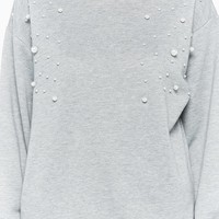 Faux Pearl-Embellished Pullover