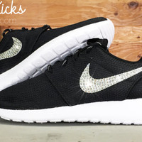 Bling Nike Roshe Run Glitter Kicks - Blinged Nikes, Bling Shoes, Blinged out Nikes, Glitter Shoes Black White