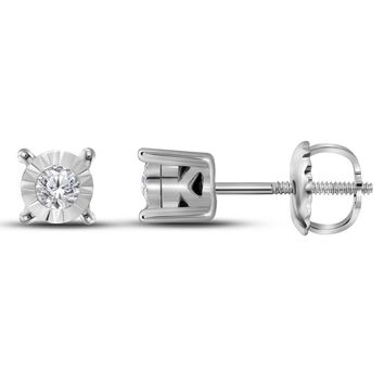 10kt White Gold Women's Round Diamond Solitaire Stud Earrings 1/10 Cttw