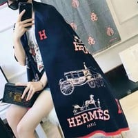 Hermes Women Warm Winter Cape Scarf Scarves