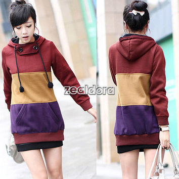 Womens Celebrities Korean Style Thicken Long Hooded Coat Outwear Sweater Z00D