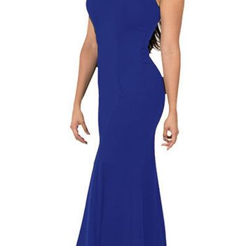 Illusion Round Neckline Sleeveless Long Formal Dress Royal Blue